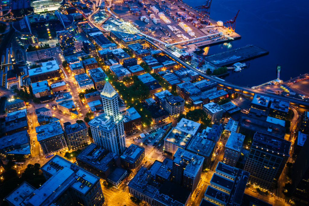 Pioneer Square – Aerial Night View